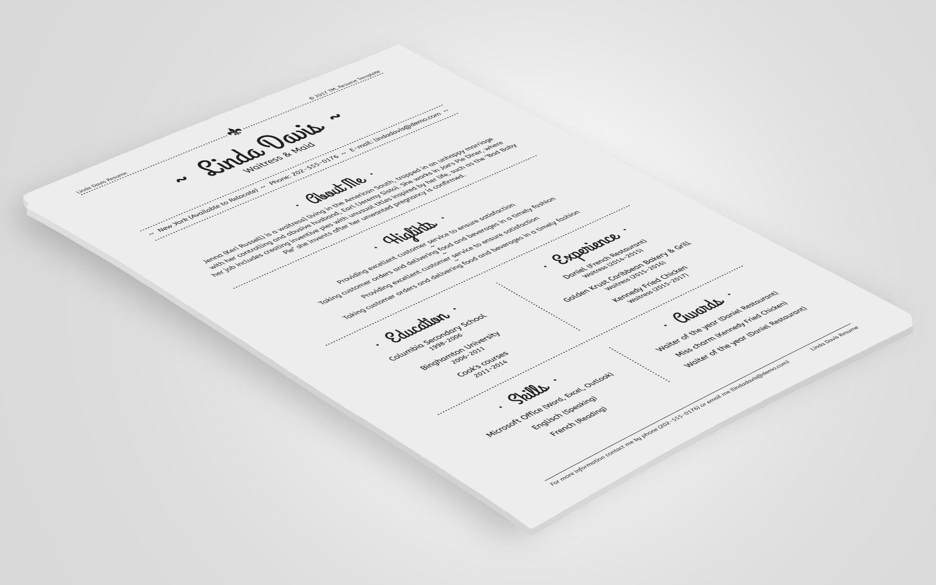 linda davis waitress maid resume template 64934