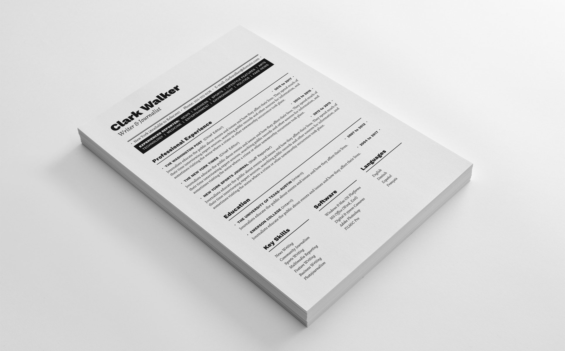 Clark Walker Writer Journalist Resume Template 64922