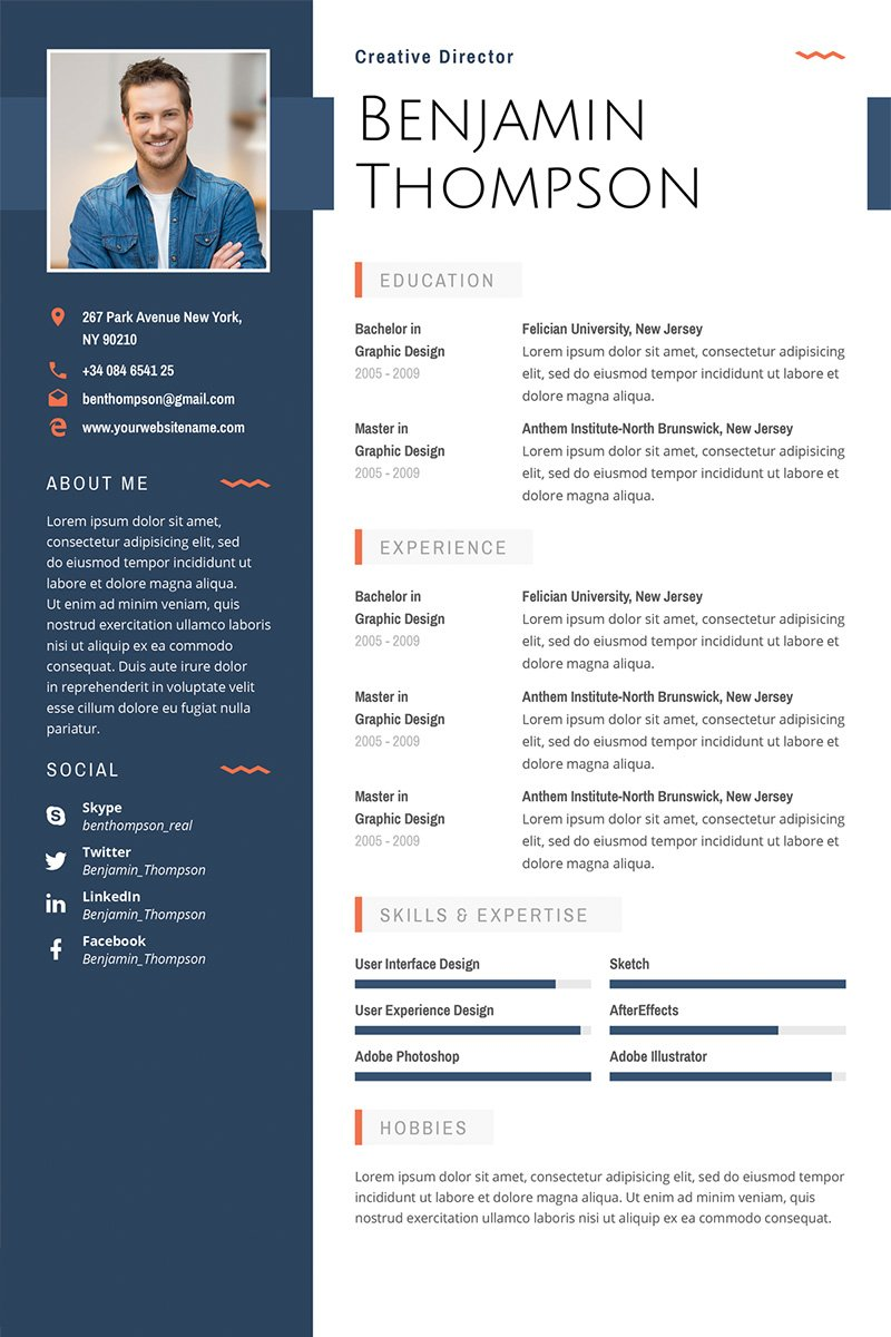 Benjamin Thompson   Multipurpose Elegant Resume Template. Preview   View  Details  Resume With Photo Template
