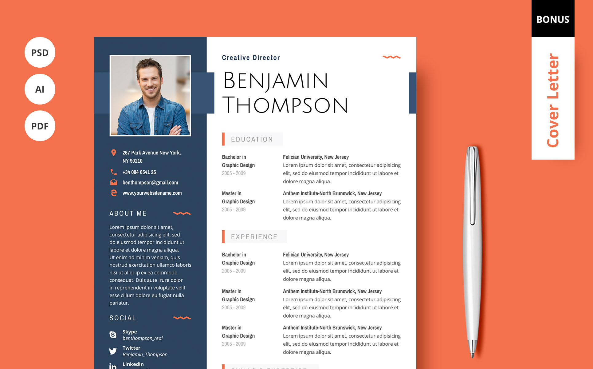 Benjamin Thompson  Multipurpose Elegant Resume Template Resume