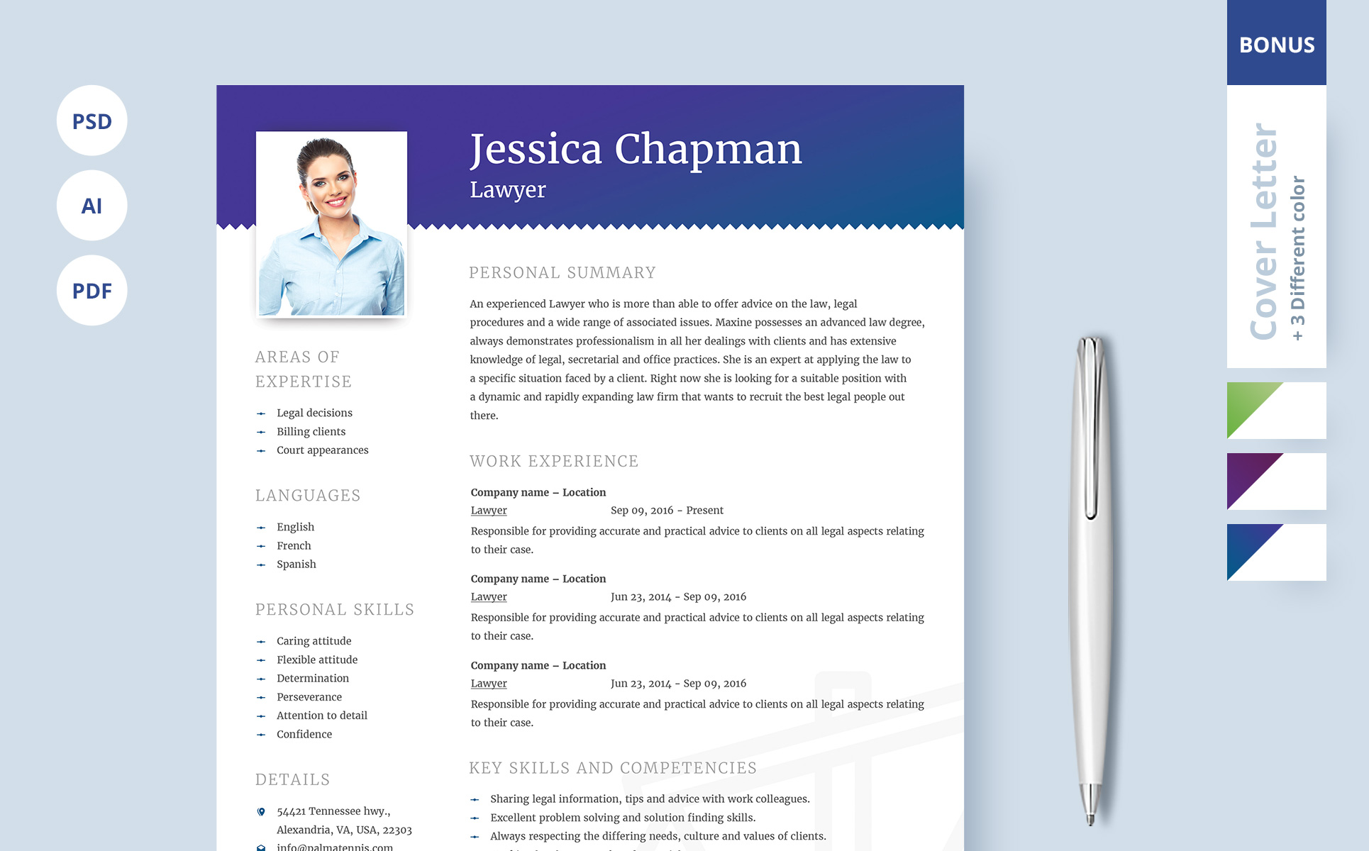 jessica chapman lawyer cv resume template big screenshot - Lawyer Resume Template Word