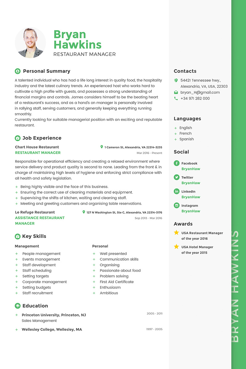 Bryan Hawkins - Restaurant Manager Resume Template #64864
