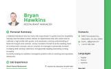 Premium Bryan Hawkins - Restaurant Manager Resume Şablonu