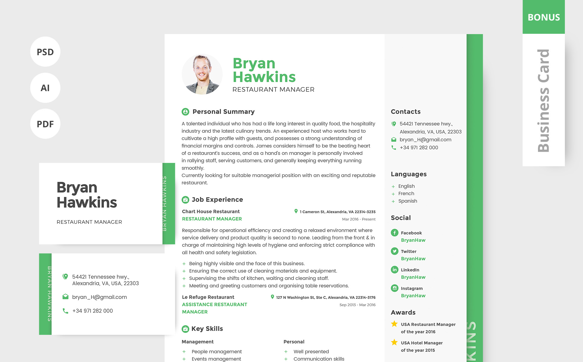 Bryan Hawkins  Restaurant Manager Resume Template