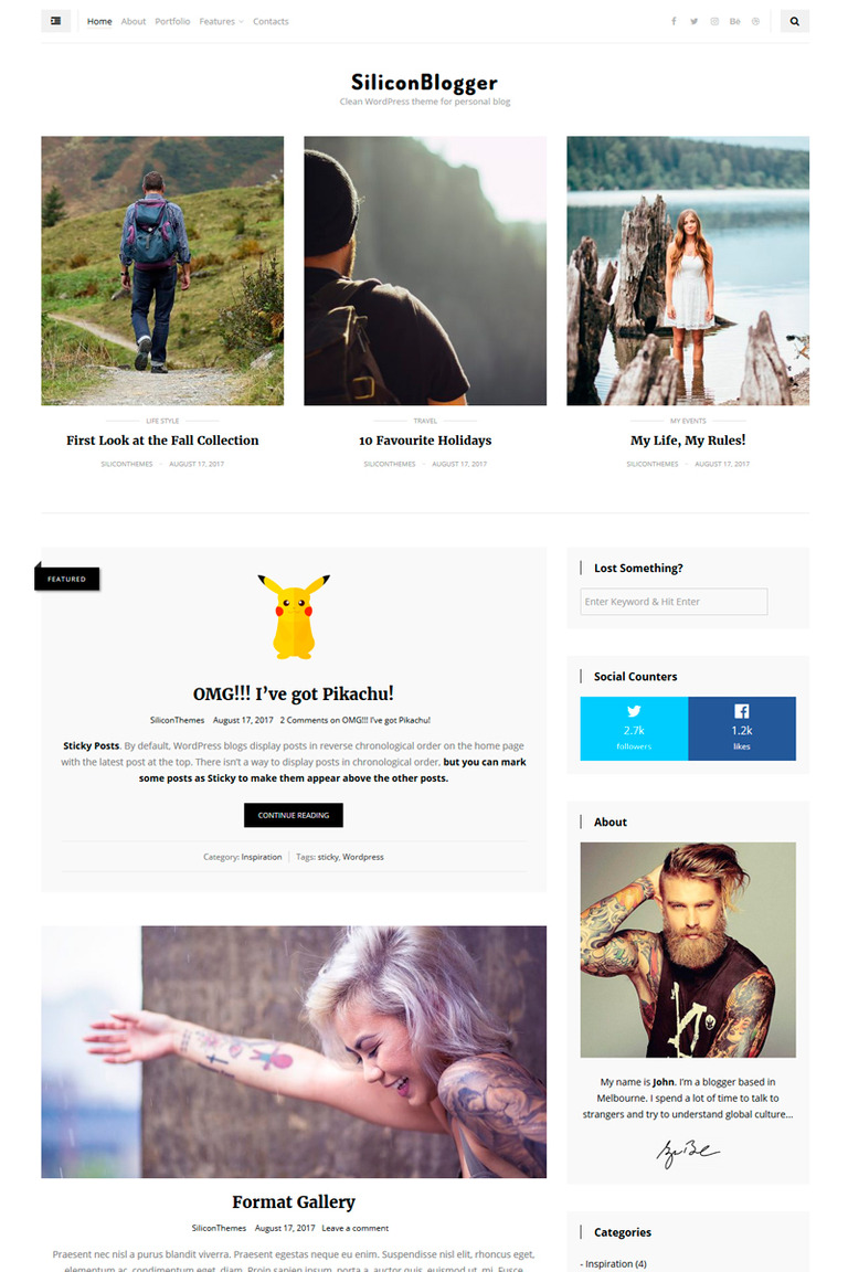 SiliconBlogger - Clean Personal Blog WordPress Theme Big Screenshot