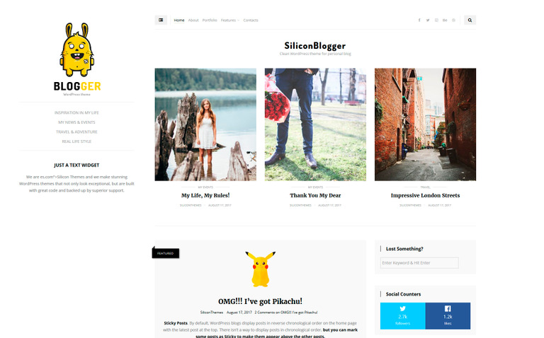 SiliconBlogger Clean Personal Blog Focused On Readability - Great wordpress templates