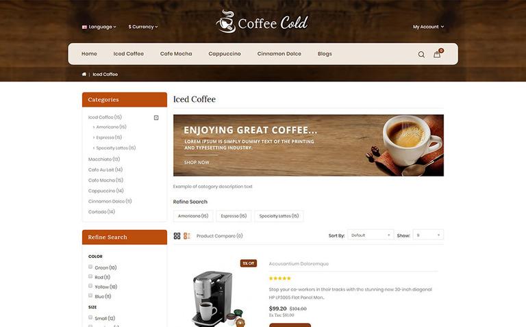 OpenCart Vorlage #69527 für Café