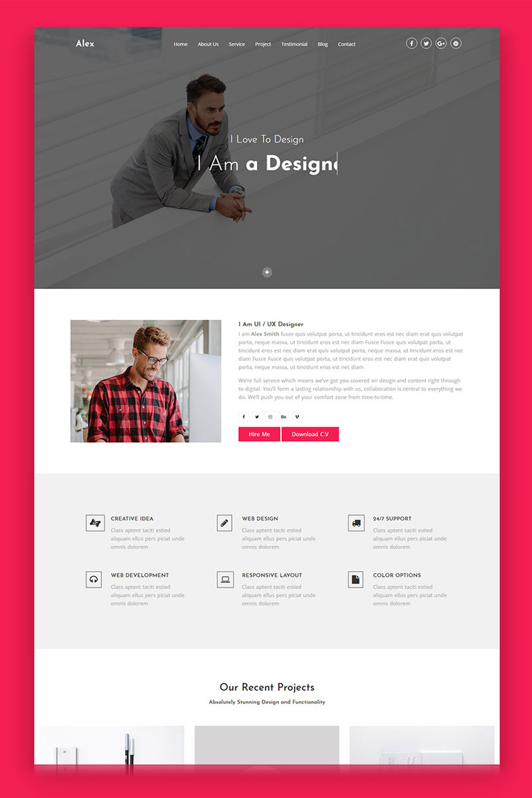 Alex - Portfolio Landing Page Template #69525