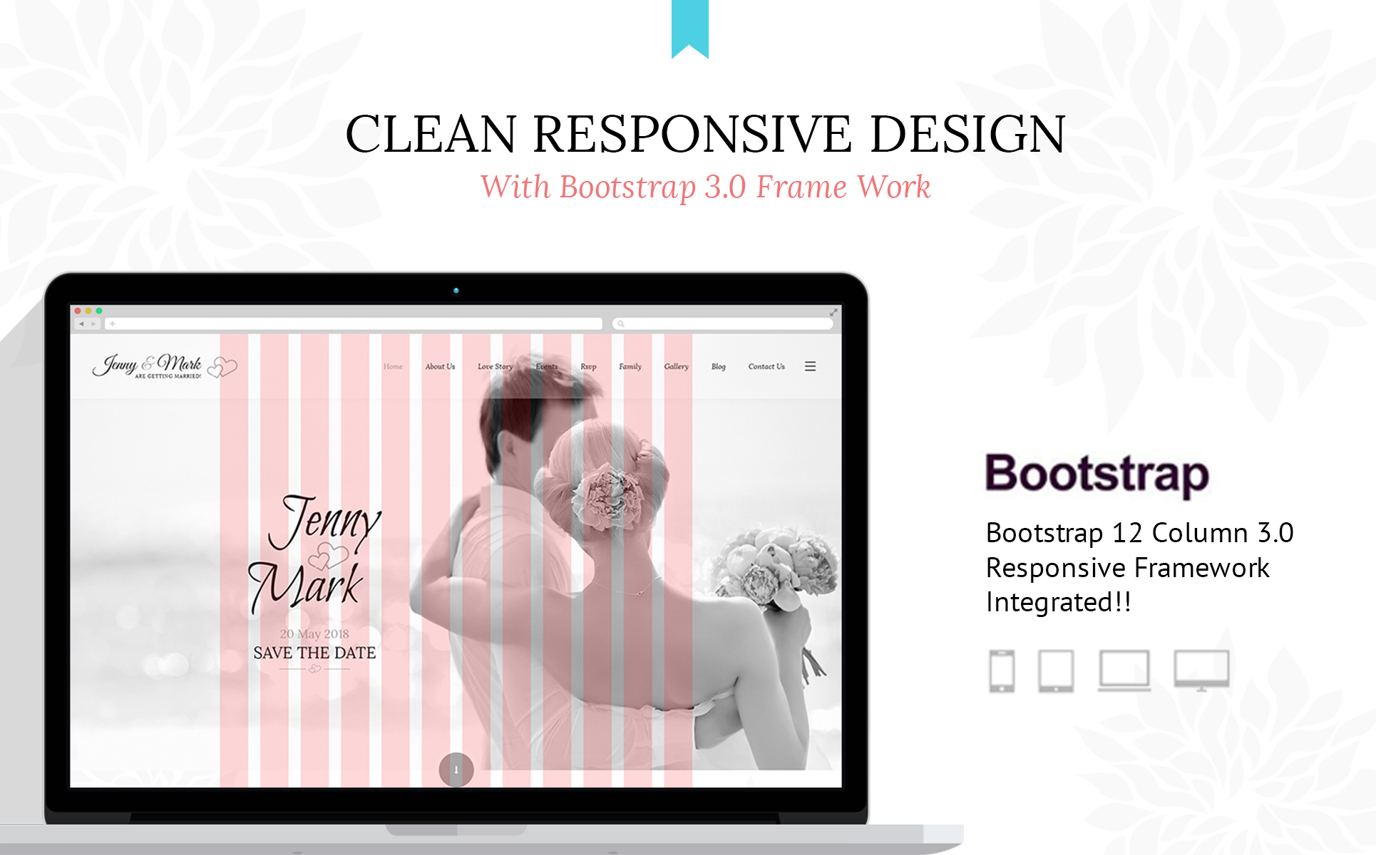 Wedding Invitation - Couple Event & Celebration Website Template #65727